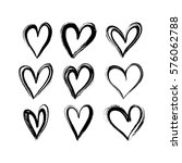 set of hand drawn hearts.... | Shutterstock .eps vector #576062788
