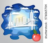 paper art with new york bridge... | Shutterstock .eps vector #576065704
