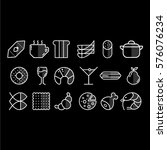 vector white food icons set on... | Shutterstock .eps vector #576076234