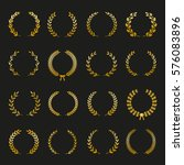 set of gold silhouette circular ... | Shutterstock .eps vector #576083896