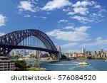 sydney harbour bridge ... | Shutterstock . vector #576084520