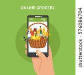 vector online grocery concept...   Shutterstock .eps vector #576086704