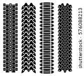 set of four black tank track... | Shutterstock .eps vector #576088213