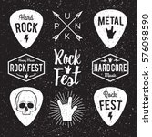 rock fest badge label grunge... | Shutterstock .eps vector #576098590