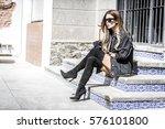 beautiful young woman wearing... | Shutterstock . vector #576101800