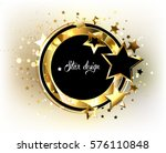 Round  Black Banner With Gold...
