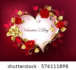 heart with jewels  gold and red ...   Shutterstock .eps vector #576111898