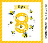 cute children flashcard number... | Shutterstock .eps vector #576112840