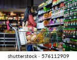various groceries in shopping... | Shutterstock . vector #576112909