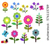 set of retro style flowers in... | Shutterstock .eps vector #576115789