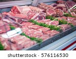 close up of meat in display at... | Shutterstock . vector #576116530
