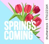 spring is coming typographic... | Shutterstock .eps vector #576122164