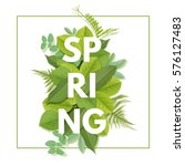 spring letter with green leaves.... | Shutterstock .eps vector #576127483