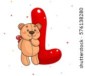 cute teddy bear and letter l ... | Shutterstock .eps vector #576138280
