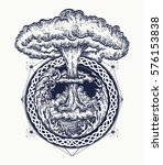 nuclear explosion tattoo art.... | Shutterstock .eps vector #576153838