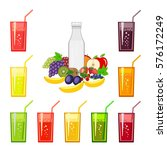 set of fresh fruit juices and... | Shutterstock .eps vector #576172249