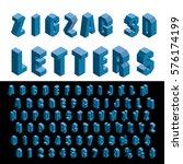 3d zig zag isometric blue... | Shutterstock .eps vector #576174199