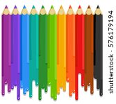 colored pencils turn into... | Shutterstock . vector #576179194