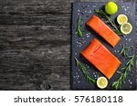 Raw Salmon Fillet With Fresh...