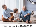 positive nice man pulling his... | Shutterstock . vector #576183550