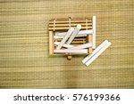 pile of white chalks inside the ... | Shutterstock . vector #576199366