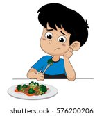 kid sad with his broccoli...   Shutterstock .eps vector #576200206