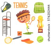 boy tennis player kids future... | Shutterstock .eps vector #576202444