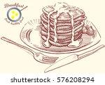 hand drawn breakfast... | Shutterstock .eps vector #576208294