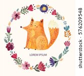illustration with cute fox and... | Shutterstock .eps vector #576209548