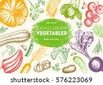 vegetables top view frame.... | Shutterstock .eps vector #576223069