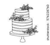 vector sketch of wedding cake... | Shutterstock .eps vector #576228760