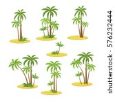 set palm trees isolated on... | Shutterstock .eps vector #576232444