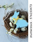wooden bunny ornament on willow ... | Shutterstock . vector #576233473