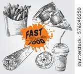 set of fast food sketches... | Shutterstock .eps vector #576240250