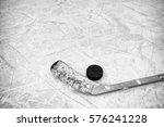 Closeup Of One Hockey Stick An...