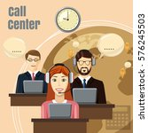 call center team concept.... | Shutterstock . vector #576245503