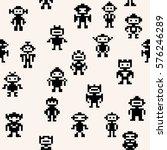 pixel robots pattern  vector... | Shutterstock .eps vector #576246289