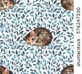 Stock photo sleepy cat seamless pattern with cute kitten watercolor background 576247330