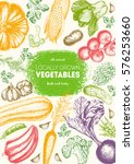 vegetables top view frame.... | Shutterstock .eps vector #576253660