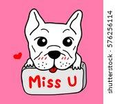 cute french bulldog vector... | Shutterstock .eps vector #576256114