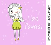 girl with a flower | Shutterstock .eps vector #576259204