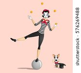 a girl mime performing a... | Shutterstock .eps vector #576269488