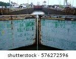 locks closing at the panama...   Shutterstock . vector #576272596
