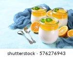 panna cotta with orange jelly... | Shutterstock . vector #576276943
