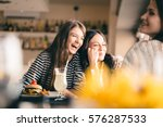old friends meeting up after... | Shutterstock . vector #576287533