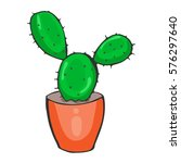 hand drawn cactus. vector... | Shutterstock .eps vector #576297640