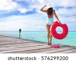tropical summer holiday concept ... | Shutterstock . vector #576299200