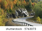 Autumn highway - stock photo