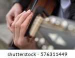 acoustic guitar close up with... | Shutterstock . vector #576311449