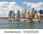 manhattan skyline with brooklyn ... | Shutterstock . vector #576320230